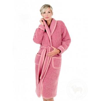 Župan z ovčej vlny ružový