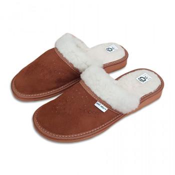 Kožené papuče s ovčou vlnou damske
