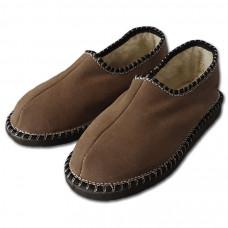 Papuče s pätou a ovčou vlnou, tmavo hnedé