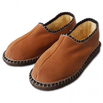 Papuče s pätou a ovčou vlnou, hnedé
