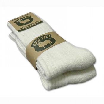 Ponožky z ovčej vlny 425g - biele sada 2 ks