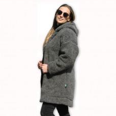 Kabát s kapucňou z ovčej vlny DIANA -11