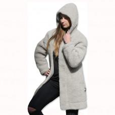 Kabát s kapucňou z ovčej vlny DIANA -7
