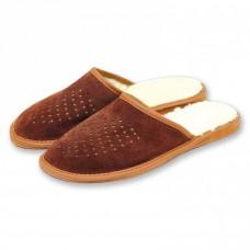Pánske kožené papuče s ovčou vlnou