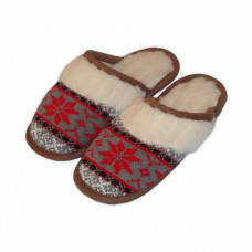 Vlnené papuče s nórskym červeným vzorom