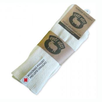 Ponožky z ovčej vlny Medicínské 425 g - biele sada 2 ks