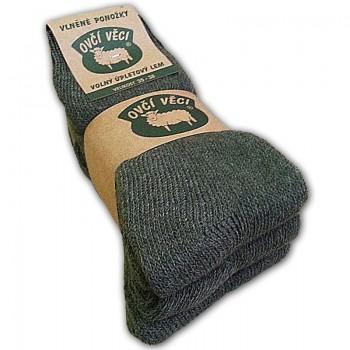 Ponožky z ovčej vlny - zelené - sada 3 ks