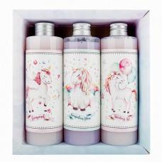 Kozmetická sada pre dievčatá gél 250 ml, šampón 250 ml a pena 250 ml - jednorožec