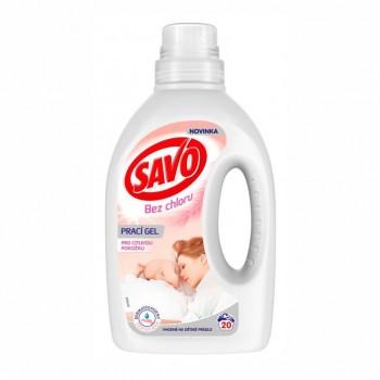 SAVO Bez chlóru Sensitive prací gél pre citlivú pokožku, 1 l